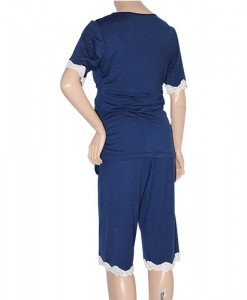 Navy blue Summer Maternity and Nursing Pyjamas back