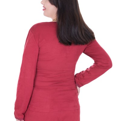 Suede Maternity and Nursing Pyjamas Wine Red back