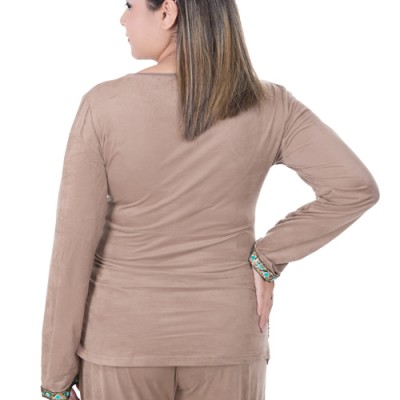 Back view of Suede Maternity and Nursing Pyjamas in Mocca