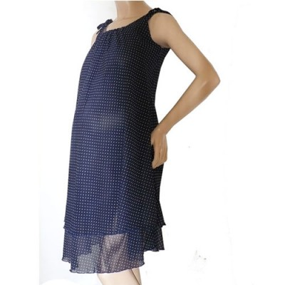 Double layer Chiffon Summer Maternity Dress in Blue