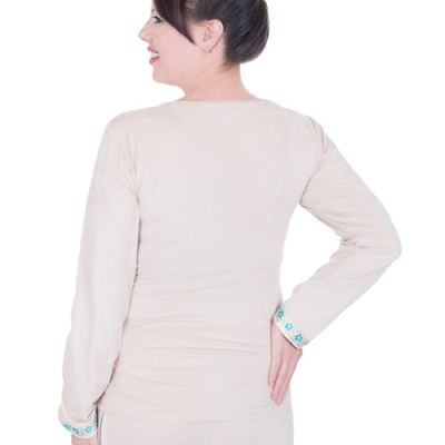 Back view of the Suede Winter Maternity and Nursing Pyjamas in Stone